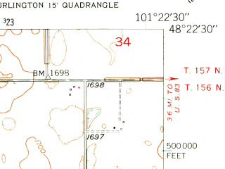 Reduced fragment of topographic map en--usgs--024k--006274--(1948)--N048-22-30_W101-30-00--N048-15-00_W101-22-30; towns and cities Burlington