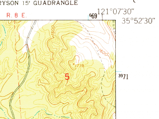 Reduced fragment of topographic map en--usgs--024k--006296--(1949)--N035-52-30_W121-15-00--N035-45-00_W121-07-30