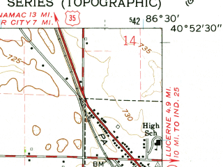 Reduced fragment of topographic map en--usgs--024k--006297--(1962)--N040-52-30_W086-37-30--N040-45-00_W086-30-00; towns and cities Burnettsville, Royal Center