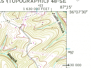 Reduced fragment of topographic map en--usgs--024k--006309--(1953)--N036-07-30_W087-22-30--N036-00-00_W087-15-00; towns and cities Burns