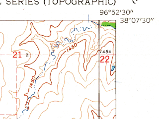 Reduced fragment of topographic map en--usgs--024k--006310--(1962)--N038-07-30_W097-00-00--N038-00-00_W096-52-30; towns and cities Burns
