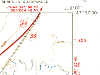 Reduced fragment of topographic map en--usgs--024k--006311--(1960)--N043-37-30_W119-07-30--N043-30-00_W119-00-00; towns and cities Burns, Hines