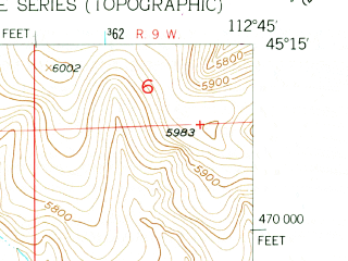 Reduced fragment of topographic map en--usgs--024k--006317--(1952)--N045-15-00_W112-52-30--N045-07-30_W112-45-00