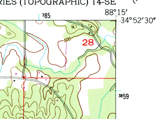 Reduced fragment of topographic map en--usgs--024k--006332--(1950)--N034-52-30_W088-22-30--N034-45-00_W088-15-00; towns and cities Burnsville