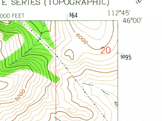 Reduced fragment of topographic map en--usgs--024k--006354--(1961)--N046-00-00_W112-52-30--N045-52-30_W112-45-00