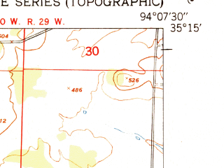 Reduced fragment of topographic map en--usgs--024k--006369--(1951)--N035-15-00_W094-15-00--N035-07-30_W094-07-30; towns and cities Greenwood