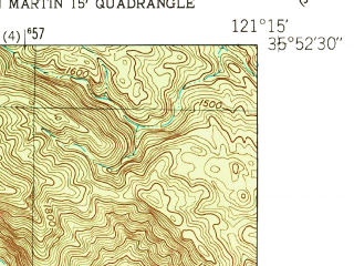 Reduced fragment of topographic map en--usgs--024k--006391--(1949)--N035-52-30_W121-22-30--N035-45-00_W121-15-00