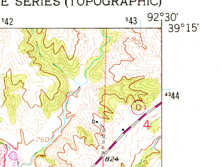 Reduced fragment of topographic map en--usgs--024k--006409--(1953)--N039-15-00_W092-37-30--N039-07-30_W092-30-00