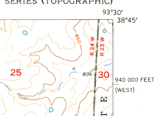 Reduced fragment of topographic map en--usgs--024k--006413--(1955)--N038-45-00_W093-37-30--N038-37-30_W093-30-00; towns and cities Whiteman Afb