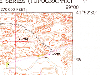 Reduced fragment of topographic map en--usgs--024k--006417--(1952)--N041-52-30_W099-07-30--N041-45-00_W099-00-00