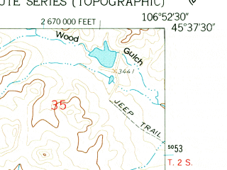 Reduced fragment of topographic map en--usgs--024k--006418--(1958)--N045-37-30_W107-00-00--N045-30-00_W106-52-30; towns and cities Busby