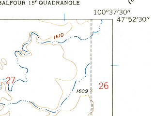 Reduced fragment of topographic map en--usgs--024k--006478--(1958)--N047-52-30_W100-45-00--N047-45-00_W100-37-30; towns and cities Butte