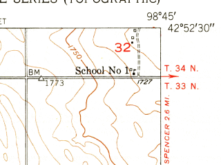 Reduced fragment of topographic map en--usgs--024k--006487--(1952)--N042-52-30_W098-52-30--N042-45-00_W098-45-00