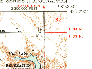 Reduced fragment of topographic map en--usgs--024k--006490--(1951)--N042-52-30_W099-00-00--N042-45-00_W098-52-30