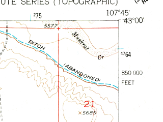 Reduced fragment of topographic map en--usgs--024k--006491--(1952)--N043-00-00_W107-52-30--N042-52-30_W107-45-00