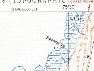 Reduced fragment of topographic map en--usgs--024k--006519--(1950)--N035-22-30_W075-37-30--N035-15-00_W075-30-00