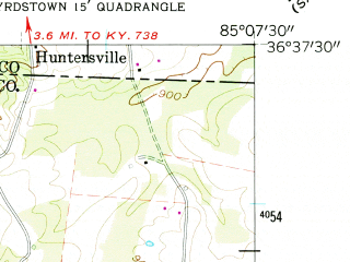 Reduced fragment of topographic map en--usgs--024k--006553--(1962)--N036-37-30_W085-15-00--N036-30-00_W085-07-30; towns and cities Byrdstown