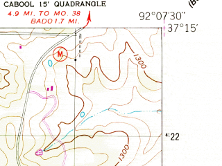 Reduced fragment of topographic map en--usgs--024k--006591--(1951)--N037-15-00_W092-15-00--N037-07-30_W092-07-30