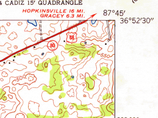 Reduced fragment of topographic map en--usgs--024k--006632--(1953)--N036-52-30_W087-52-30--N036-45-00_W087-45-00; towns and cities Cadiz