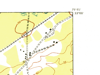 Reduced fragment of topographic map en--usgs--024k--006665--(1943)--N033-00-00_W079-52-30--N032-52-30_W079-45-00