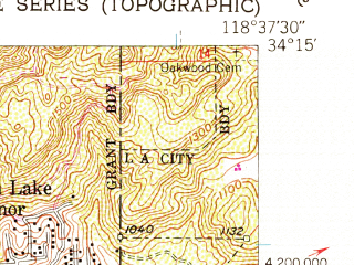 Reduced fragment of topographic map en--usgs--024k--006678--(1952)--N034-15-00_W118-45-00--N034-07-30_W118-37-30; towns and cities Hidden Hills