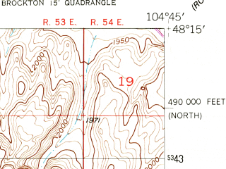 Reduced fragment of topographic map en--usgs--024k--006682--(1950)--N048-15-00_W104-52-30--N048-07-30_W104-45-00