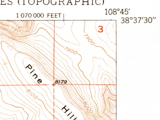 Reduced fragment of topographic map en--usgs--024k--006685--(1950)--N038-37-30_W108-52-30--N038-30-00_W108-45-00