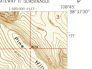 Reduced fragment of topographic map en--usgs--024k--006685--(1960)--N038-37-30_W108-52-30--N038-30-00_W108-45-00