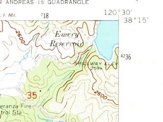 Reduced fragment of topographic map en--usgs--024k--006689--(1962)--N038-15-00_W120-37-30--N038-07-30_W120-30-00