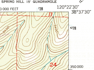 Reduced fragment of topographic map en--usgs--024k--006695--(1951)--N038-37-30_W120-30-00--N038-30-00_W120-22-30