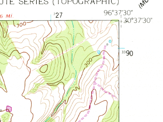 Reduced fragment of topographic map en--usgs--024k--006700--(1961)--N030-37-30_W096-45-00--N030-30-00_W096-37-30; towns and cities Caldwell
