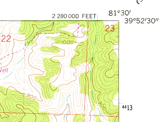 Reduced fragment of topographic map en--usgs--024k--006703--(1961)--N039-52-30_W081-37-30--N039-45-00_W081-30-00; towns and cities Belle Valley