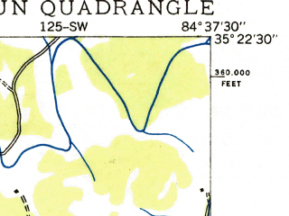 Reduced fragment of topographic map en--usgs--024k--006728--(1935)--N035-22-30_W084-45-00--N035-15-00_W084-37-30; towns and cities Calhoun