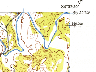 Reduced fragment of topographic map en--usgs--024k--006728--(1943)--N035-22-30_W084-45-00--N035-15-00_W084-37-30; towns and cities Calhoun
