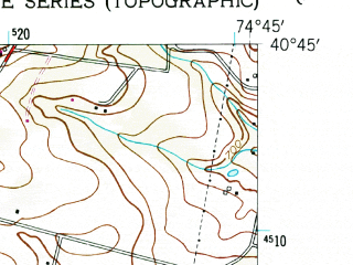 Reduced fragment of topographic map en--usgs--024k--006747--(1954)--N040-45-00_W074-52-30--N040-37-30_W074-45-00; towns and cities Califon, Lebanon