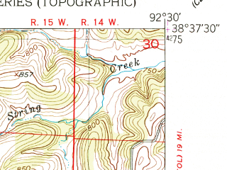 Reduced fragment of topographic map en--usgs--024k--006757--(1951)--N038-37-30_W092-37-30--N038-30-00_W092-30-00