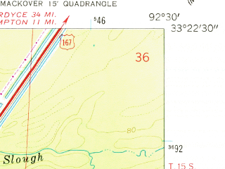 Reduced fragment of topographic map en--usgs--024k--006760--(1962)--N033-22-30_W092-37-30--N033-15-00_W092-30-00; towns and cities Calion