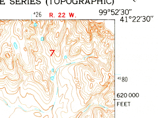 Reduced fragment of topographic map en--usgs--024k--006775--(1951)--N041-22-30_W100-00-00--N041-15-00_W099-52-30; towns and cities Callaway
