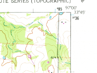 Reduced fragment of topographic map en--usgs--024k--006782--(1960)--N033-45-00_W097-07-30--N033-37-30_W097-00-00; towns and cities Callisburg, Oak Ridge