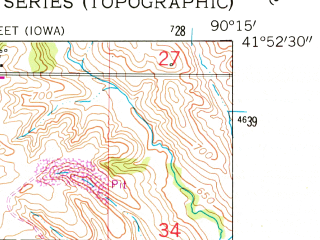 Reduced fragment of topographic map en--usgs--024k--006811--(1953)--N041-52-30_W090-22-30--N041-45-00_W090-15-00; towns and cities Low Moor, Camanche