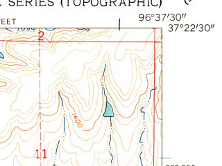 Reduced fragment of topographic map en--usgs--024k--006836--(1962)--N037-22-30_W096-45-00--N037-15-00_W096-37-30; towns and cities Cambridge