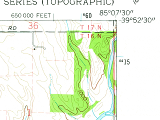 Reduced fragment of topographic map en--usgs--024k--006840--(1960)--N039-52-30_W085-15-00--N039-45-00_W085-07-30; towns and cities Cambridge City, Dublin, East Germantown