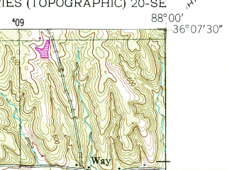 Reduced fragment of topographic map en--usgs--024k--006849--(1950)--N036-07-30_W088-07-30--N036-00-00_W088-00-00; towns and cities Camden