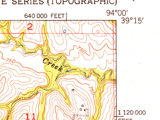 Reduced fragment of topographic map en--usgs--024k--006852--(1951)--N039-15-00_W094-07-30--N039-07-30_W094-00-00; towns and cities Camden, Fleming, Napoleon