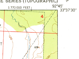 Reduced fragment of topographic map en--usgs--024k--006853--(1951)--N033-37-30_W092-52-30--N033-30-00_W092-45-00; towns and cities Camden