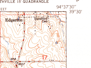 Reduced fragment of topographic map en--usgs--024k--006861--(1951)--N039-30-00_W094-45-00--N039-22-30_W094-37-30; towns and cities Camden Point, Edgerton, Ridgely
