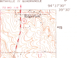 Reduced fragment of topographic map en--usgs--024k--006861--(1961)--N039-30-00_W094-45-00--N039-22-30_W094-37-30; towns and cities Camden Point, Edgerton, Ridgely