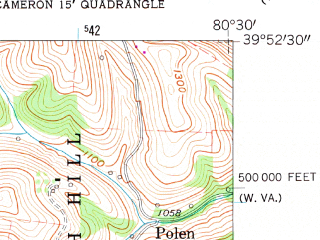 Reduced fragment of topographic map en--usgs--024k--006877--(1960)--N039-52-30_W080-37-30--N039-45-00_W080-30-00; towns and cities Cameron