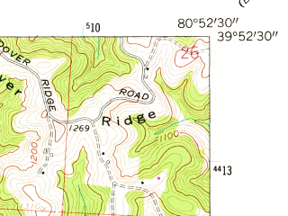 Reduced fragment of topographic map en--usgs--024k--006881--(1960)--N039-52-30_W081-00-00--N039-45-00_W080-52-30