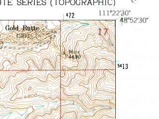 Reduced fragment of topographic map en--usgs--024k--006890--(1962)--N048-52-30_W111-30-00--N048-45-00_W111-22-30